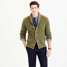$138 J.Crew Woodsman Cardigan S Small Shawl Collar Sweater Leather Suede E6245