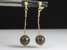14K Black Onyx Dangle Earrings Ball Fish Net Mesh ITALY Yellow Gold Pierced Drop