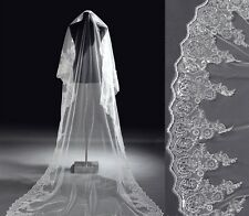 New White Cathedral Length Wedding Bridal Veil with embroidery and lots sparkles