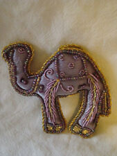 PURPLE AND GOLD CAMEL SHAPED WALL HANGING HANDMADE INDIA, IDEAL CHRISTMAS DECOR