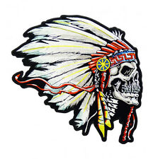 "(C61) INDIAN CHIEF DEATH SKULL 5.75"" x 4"" iron on patch Biker Native American"