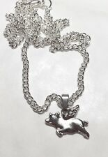 FLYING PIG CHARM SILVER TONE NECKLACE 44cm