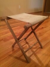 """Vintage Folding Wood and Canvas Camp Stool 17"""" tall"""