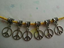 6 Silver Tone Peace Sign Charms With Bail Beads