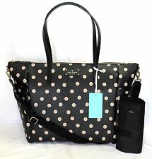 KATE SPADE Adaira Baby Diaper Bag Wellesley Printed Black Polka Dot WKRU3862