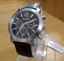 Mens Classic BULOVA Black Leather Gents Chronograph Watch 96A159 BNIB