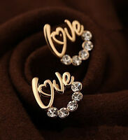 Fashion Crystal Rhinestone Love Heart Ear Stud Earrings Women Lady Earrings Gift