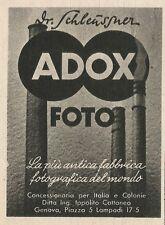 W3512 ADOX foto la più antica fabbrica fotografica - Pubblicità 1943 - Advertis.