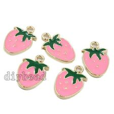 10pcs Gold Plated Pink&Green Enamel Alloy Strawberry Shape Pendants Charms HOT D