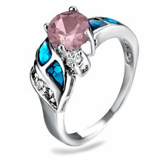 Blue Fire Opal Pink & Zircon Women Jewelry Silver Plated Ring Size 7.2 PM25