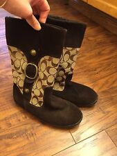 Coach Meyer Brown Suede Boots Women's Size 6 Signature Khaki Fabric mid calf
