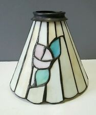 """Stained Glass Floral or Flower Cone Lamp Light Shade 2 1/4"""" Fitter"""