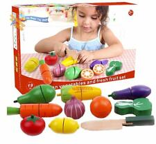 19 pcs Wooden Vegetables and Fruit Set Veg Cutting Play Food Pretend Kitchen Toy
