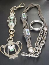 Antique Two (2) Piece Enamel Pocket Watch Chain and Matching Fob in SIlver