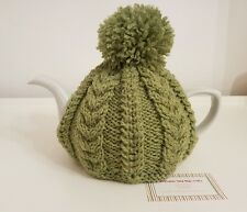 Hand Knitted Aran Tea Cosy-Vert pomme