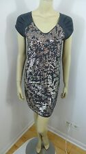 DKNY Jeans Gray Sequin Cap Sleeve Stretch Woman Dress Size XS
