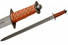 "NEW! 35"" Celtic Viking Warrior Damascus Carbon Steel Sword w/ Leather Handle"
