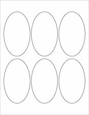 "6 SHEETS 2-1/2""x4-1/4"" BIG OVAL BLANK WHITE STICKERS LABELS~8-1/2""x11 Sheets"