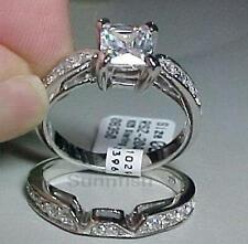 STERLING SILVER 925 PRINCESS ENGAGEMENT WEDDING TWO RING SET SIZE 5