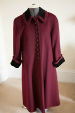Wool Long Coat Burgundy with Velvet Collar Women's Size M Mario De Pinto USA