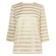 Gorgeous L.K.Bennett Gold Stripe CARMA Blouse Top UK 6 Worn Once RRP £150