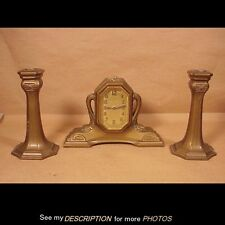 Antique 1920s 3pc Art Deco Lux Clock & Candlesticks Set