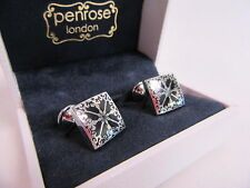 Penrose of London Designer Pallas A Floral Square Cufflinks Black RRP £140 #CL71