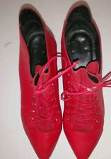 """Red Leather Vintage Granny Victorian Ankle Boots 1.75"""" Heel  Women Sz 7 Brazil"""