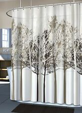 New Splash FOREST Trees PEVA Vinyl Shower Curtain Black Gray White Eco Friendly