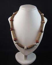 Rare ancient Chinese Shang dynasty carved stone bead necklace