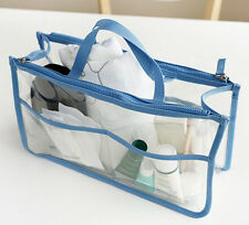 Women's Clear Cosmetics Bag Dual Zipper Toiletry Female Organizer Handbag In Bag