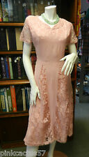 VINTAGE 40s DRESS wartime ww2 crepe lace sweetheart neckline short sleeves 12
