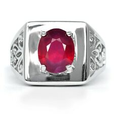 Attractive! 3.80 Carat Natural Rich Red Ruby Man Ring in 925 Silver