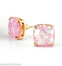 Auth New KATE SPADE New York Soft Pink Glitter Studs 12k Earrings - New on Card