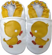 carozoo duck white 4-5y soft sole leather kids shoes slippers