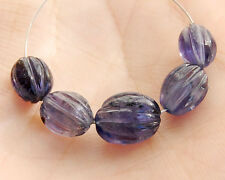 Natural Blue Water Sapphire Iolite Hand Carved Oval Semi Precious Gemstone Beads