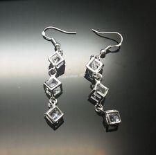 Women's 925 sterling silver Clear CZ Crystal Hoop Dangle Earrings L46c