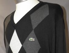 LACOSTE Men's BLACK/ GRAY Argyle Crocodile V-Neck Sweater Size: 6  (US: Large)