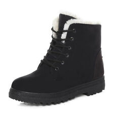 Stylish Women Flat Ankle Martin Boots Ladies Lace Up Fur Lined Winter Warm Shoes