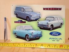 FORD ANGLIA - CLASSIC CAR SIGN - DECORATIVE METAL WALL SIGN, TIN SIGN POSTER