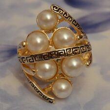 Dolly-Bijoux Fantaisie Grosse Bague Grec de Perles Blanche Synthétique T54 ou 60