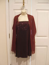 new liz claiborne burgundy beaded prom party occassion holiday dress size 8