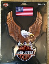HARLEY DAVIDSON UP WING EAGLE BROWN PATCH  10 INCH AND AMERICAN FLAG PATCH !