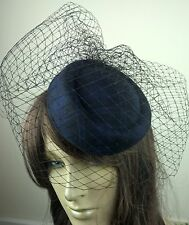 navy blue felt mini pill box hat black veiling french veil fascinator wedding