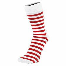 Thin Striped White Ankle Socks (Size: 4-7)