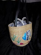 Fabulous vintage round woven straw bucket bag raffia angel fish Rockabilly 50s