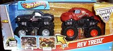 Hot Wheels Monster Jam Rev Tredz Monster Trucks Metal Mulisha & Crushstation