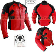 THE 'DEADPOOL' STYLE MENS CE ARMOUR RED/BLACK MOTORBIKE/MOTORCYCLE JACKET & SUIT