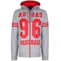 Adidas Originals Mens M96 Fleece Zip Hoodie Jacket Jumper Grey/Red (#9252)