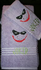 The JOKER Bath & Hand Towel  Lavendar NWOT embroidered